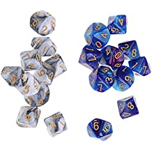 MagiDeal 20x D10 10 Sided Dice Polyhedral TRPG Dice for MTG DND Party Roleplay Games
