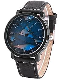 男女通用クォーツ腕時計ラウンドPUストラップビッグダイヤル腕時計(4#)