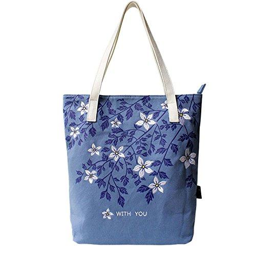 帆布バッグ 刺繍 花柄 かわいい バッグ ショルダー トート...