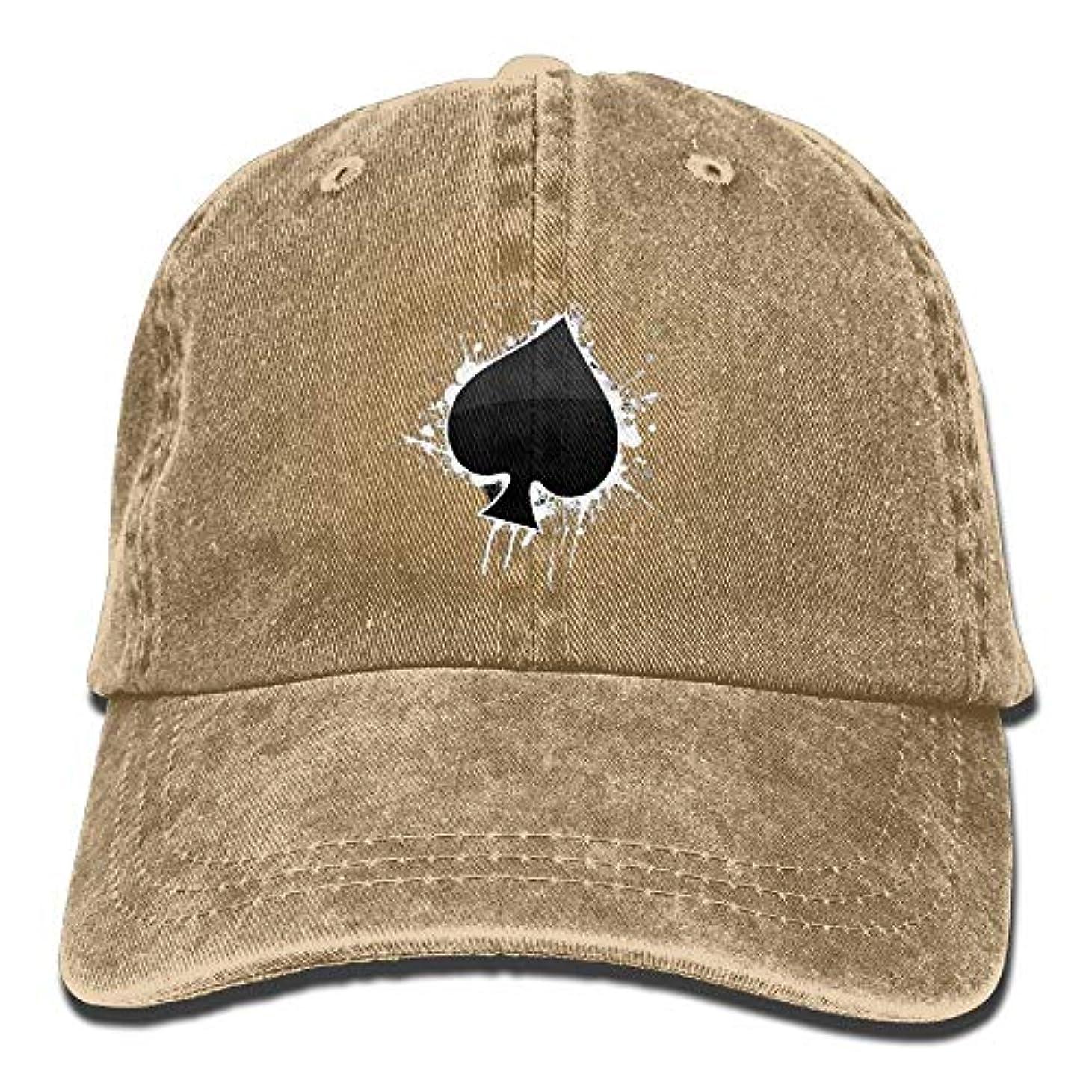 ほこりっぽい花立証するスペード調節可能な綿デニム野球帽帽子の男女兼用の大人の火かき棒のエース