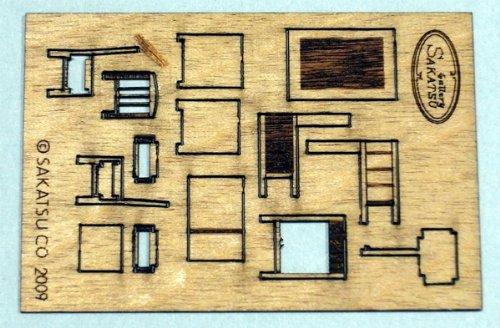 木製片袖机キット 椅子付き :さかつう 未塗装キット HO(1/87) 1403
