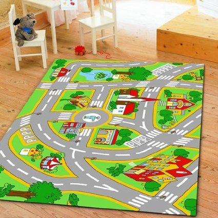 キッズマット 〔100×150cm〕 ルームマット プレイマット オールシーズン マット 子供部屋 遊ぶ 勉強 道路