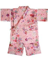 日本製 綿の郷 女の子用リップル生地甚平 じんべい 子供 90 100 110 120 130 140 150