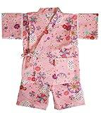 日本製 綿の郷 女の子用リップル生地甚平 じんべい 子供 (90, ピンク)