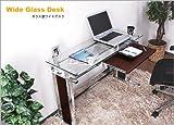 省スペースガラスパソコンデスク スライドテーブルは前後左右に可動 厚さ8mm強化ガラス オフィスデスク フラットデスク