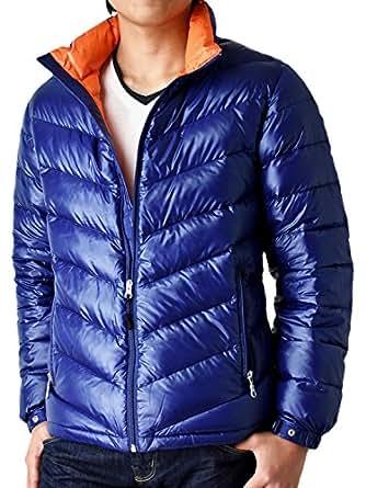 (アローナ)ARONA ダウンジャケット メンズ 高級羽毛プレミアムダウン使用 軽量 撥水 防風 /S 71Dブルー×オレンジ M