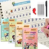 4 pcs English Magic Practice Copybook, Magic Calligraphy That Can Be Reused Handwriting Copybook Tracing Book Set for Homesch