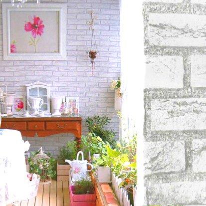 【DIY 壁紙シール】 レンガ かんたん貼付シールタイプ 45cm×10m リフォーム ウォールステッカー 防水 アンティークホワイト