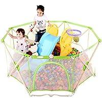 フェンス折りたたみ子供の遊びフェンスクロール幼児フェンスベビーフェンス屋内ベビークローリングフェンス (Color : Green, Size : 129 * 129 * 66cm)