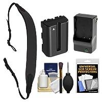 Op/Tech USA E-Z Comfort Neoprene Camera Strap (Black) with Battery & Charger for Sony Alpha DSLR SLT-A57, A58, A65, A77, A99 [並行輸入品]