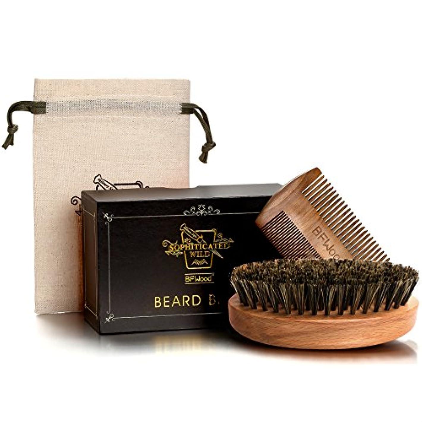 努力するマウントナビゲーションBFWood Beard Brush Set 豚毛髭ブラシと木製コム アメリカミリタリースタイル (ブラシとコムセット)
