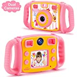 """Drograce Kids Camera Dual Selfie Camera 1080P HD Video Recorder Digital Action Camera Camcorder for Boys Girls Gifts 2.0 """" LCD Screen with 4X Digital Zoom and Funny Game(Pink)"""
