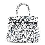 SAVE MY BAG セーブマイバッグ MISS LOVE WORDS LYCRA 10204N ミス ラブ ワーズ 軽量 ハンドバッグ トートバッグ マザーバッグ Mサイズ カラーLOVEWORDS LOVEWORDS/ホワイト×ブラック [並行輸入品]