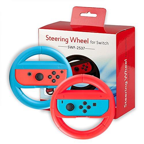 【ニンテンドー専用】QUN FENG Joy-Conハンドル 2個セット レースゲーム専用ハンドル(赤+ブルー)