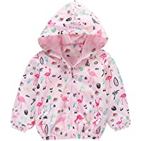 Girls Flamingo Jackets Coat Cute Hoodies Zip Cotton Lined Lightweight Waterproof Jacket Toddler Clothes Size 4-5