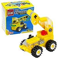 Bifast ベビーキッズ 幼児 クレーン フォークリフト ブルドーザー 掘削機 ダンパー エンジニアリング ブロック おもちゃ イエロー 33155