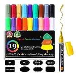 19色 液体チョークペン 蛍光ボードマーカー LED看板 黒板用 太字 細字 ステッカー40枚&雑巾 付き