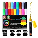 液体チョークペン 19色 蛍光ボードマーカー LED看板 黒板用 太字 細字 ステッカー40枚&雑巾 付き