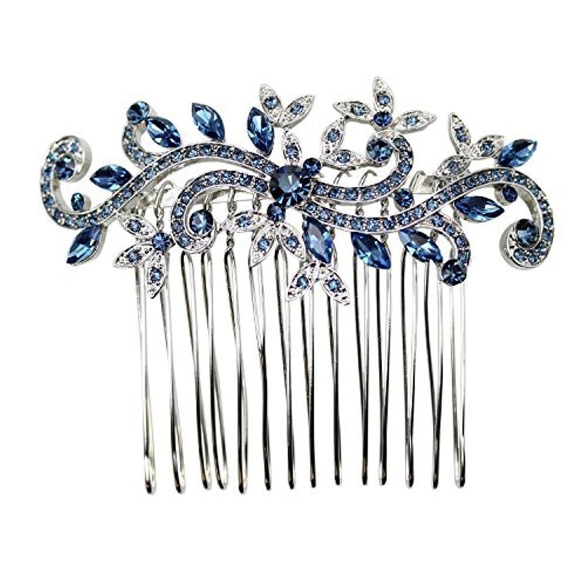 短くする建設文房具Faship Gorgeous Navy Blue Crystal Floral Hair Comb [並行輸入品]