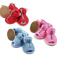 かわいい犬靴ペットサンダル色付き快適フィット–サイズ5-colorピンク