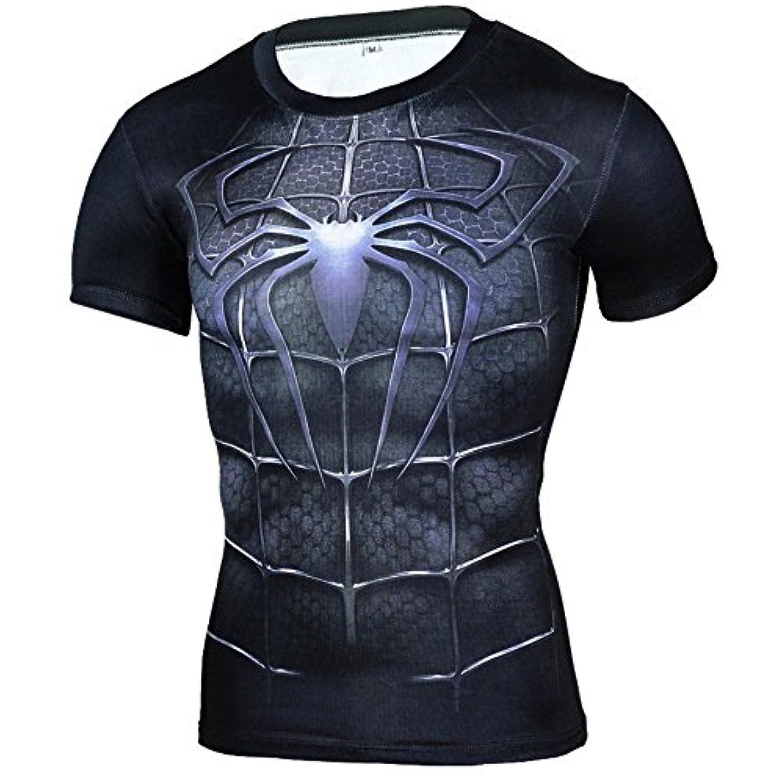精算ショルダー百科事典メンズ Tシャツ半袖 Spider Manスパイダーマン吸汗速乾 ラウンドネック スポーツシャツ