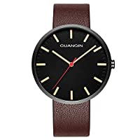GUANQIN 腕時計 アナログ スイス人 クオーツ メンズ 人気 ブランド ステンレススチールと本革 ビジネス 時計 防水 おしゃれ ユニークデザイン ウォッ (ブラックブラウン)