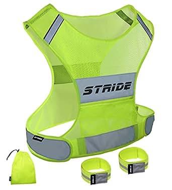 Raiseup ナイトライド 反射ベスト 自転車 ランニング ジョギング 専用収納袋セット (M, 緑)