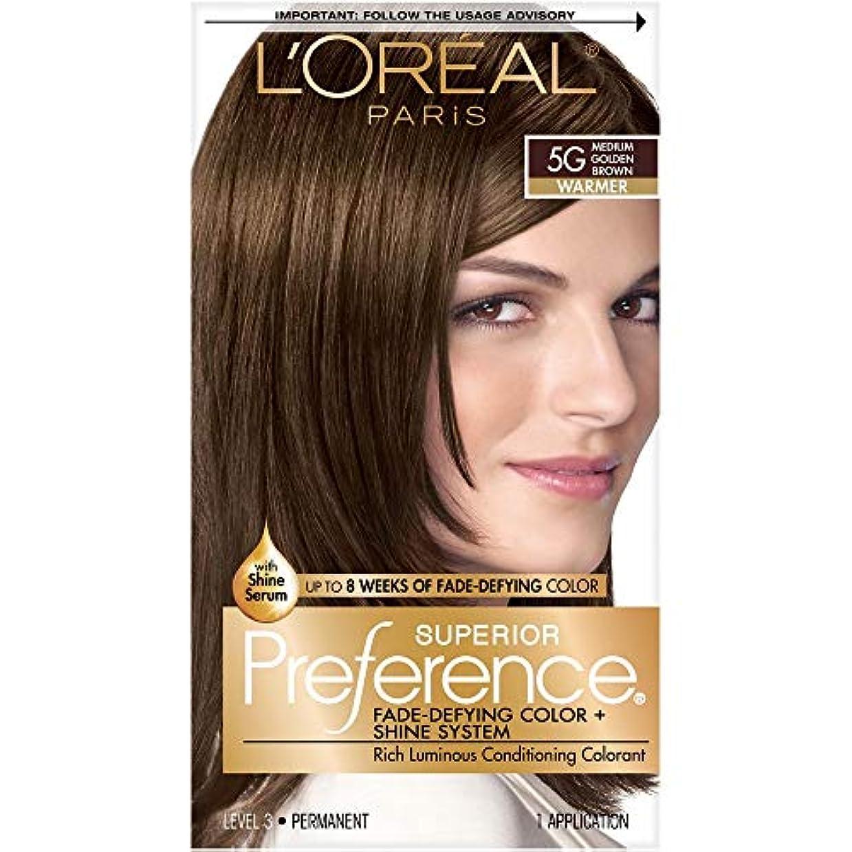 暴力的な宝ブランド海外直送肘 LOreal Superior Preference Hair Color 5G Medium Golden Brown, Medium Golden Brown 1 each