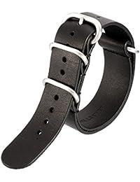 レザー 本革 ZULU タイプ 時計 バンド ストラップ (ブラック, 20mm)