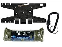 スプールツールパラコードツール–ブラックPlus 100ft 55o 7ストランドod Greenパラコード、Tacticalブラックロックカラビナ