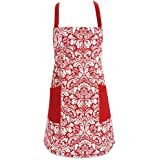 DII 100% Cotton, Fashion Printed Damask Women Kitchen Apron, Adjustable Neck Strap & Waist Ties, Front Pockets, Machine Washable, Perfect for Cooking, Baking, BBQ-Tango Red