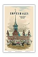 コペンハーゲン、デンマーク - 過去、現在そして未来の商業センター - 旧証券取引所ビル - ビンテージな世界旅行のポスター によって作成された デス・アスムッセン c.1957 - アートポスター - 31cm x 46cm