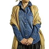 (ケージービー)K.G.B ダンガリーシャツ デニム シャツ ボタンシャツ レディース 長袖 羽織 大きいサイズ ブルー/3L