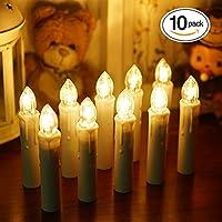 BlueFire LEDキャンドルライト 電池式蝋燭ろうそくイルミネーション 多様機能リモコン/燭台付き ホーム飾り/庭/結婚式/パーティー/クリスマス装飾ライト ロマンチックな雰囲気作り 安心安全 10本 (ホワイト)