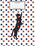Wide Ruled Composition Notebook 8.5x 11. 120 Pages: Patriotic Cat Red White Blue Stars Cover. Notebook Composition Book Wide Ruled for Kids, Girls, Boys, School, Students, Teachers, Elementary School. Wide Ruled Journal. Large Notebook. Legal Ruled Paper. Notebook for Cat Lovers.