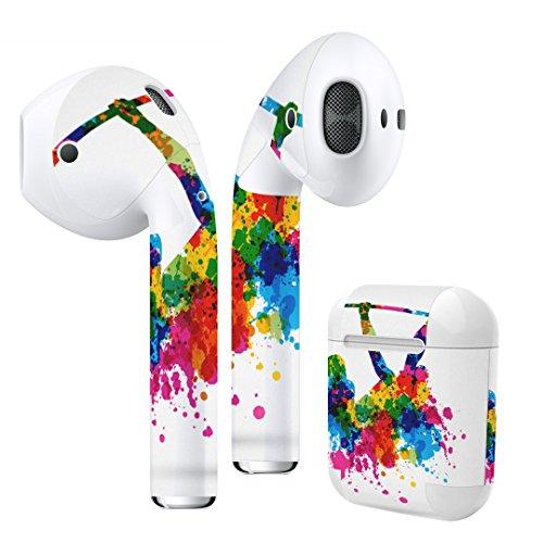 Air Pods 専用 デザインスキンシール airpods エアポッド apple アップル イヤフォン イヤホン カバー デコレーション アクセサリー エアフリー デコシール クール カラフル 絵の具 人物 005968