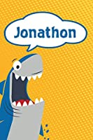 "Jonathon: Personalized Shark Isometric DOT Paper notebook for Kids  120 pages 6""x9"""