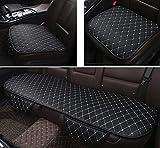 world Imp Motor 車用 前後座 3枚組 PUレザー カーシート カバー セット 簡単設置 前座席用2枚+後部座席用1枚 通気性 竹炭 (ブラック×ホワイト(ライン色))
