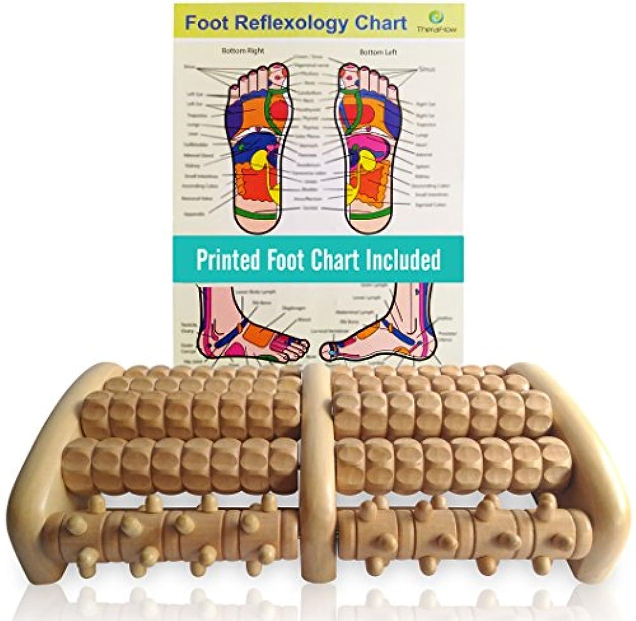 詐欺師自我強大なTheraFlow Large Dual Foot Massager Roller - Plantar Fasciitis, Heel, Arch Pain Relief -Enhanced Model 2018- Laminated...