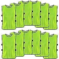 【12枚セット】ビブス 大人用 トレーニングビブス フットボールビブス 軽量 吸汗速乾 サッカー イベント フットサル