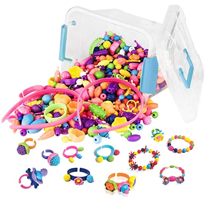 Wangxin 500PCS収納ボックス おもちゃ ビーズ DIYメイキングトイ 手作りの子供の教育玩具 子どもの創造力を育む玩具を育てる 女の子の誕生日プレゼント コードレスビーズ DIYジュエリー子供のおもちゃセット