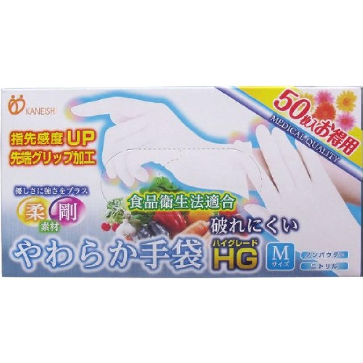 傑作クリップトーク[12月23日まで特価]やわらか手袋HG(ハイグレード) 二トリル手袋 パウダーフリー Mサイズ 50枚入×10個セット