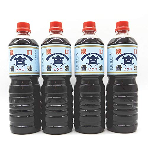 古村醤油 福井の老舗 古村醤油 ヒゲコ醤油の淡口(うす口) 1リットル 4本