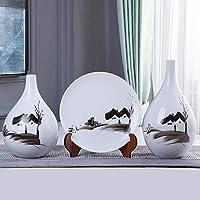 花瓶トレイスタンドホワイトミニマリストスタイルのホームオフィスの装飾と手描きのノスタルジックなセラミック装飾花瓶