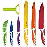 HULLR キッチンナイフ7点セット ステンレス鋼ナイフ 複数カラー 付着防止コーティング セラミック製ピーラー付き ギフトボックス