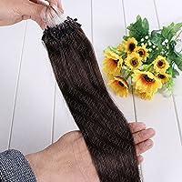 FidgetGear 二重引かれたRemyの人間の毛髪延長ループマイクロリングシリコーンビーズ16-26Inch #02ダークブラウン