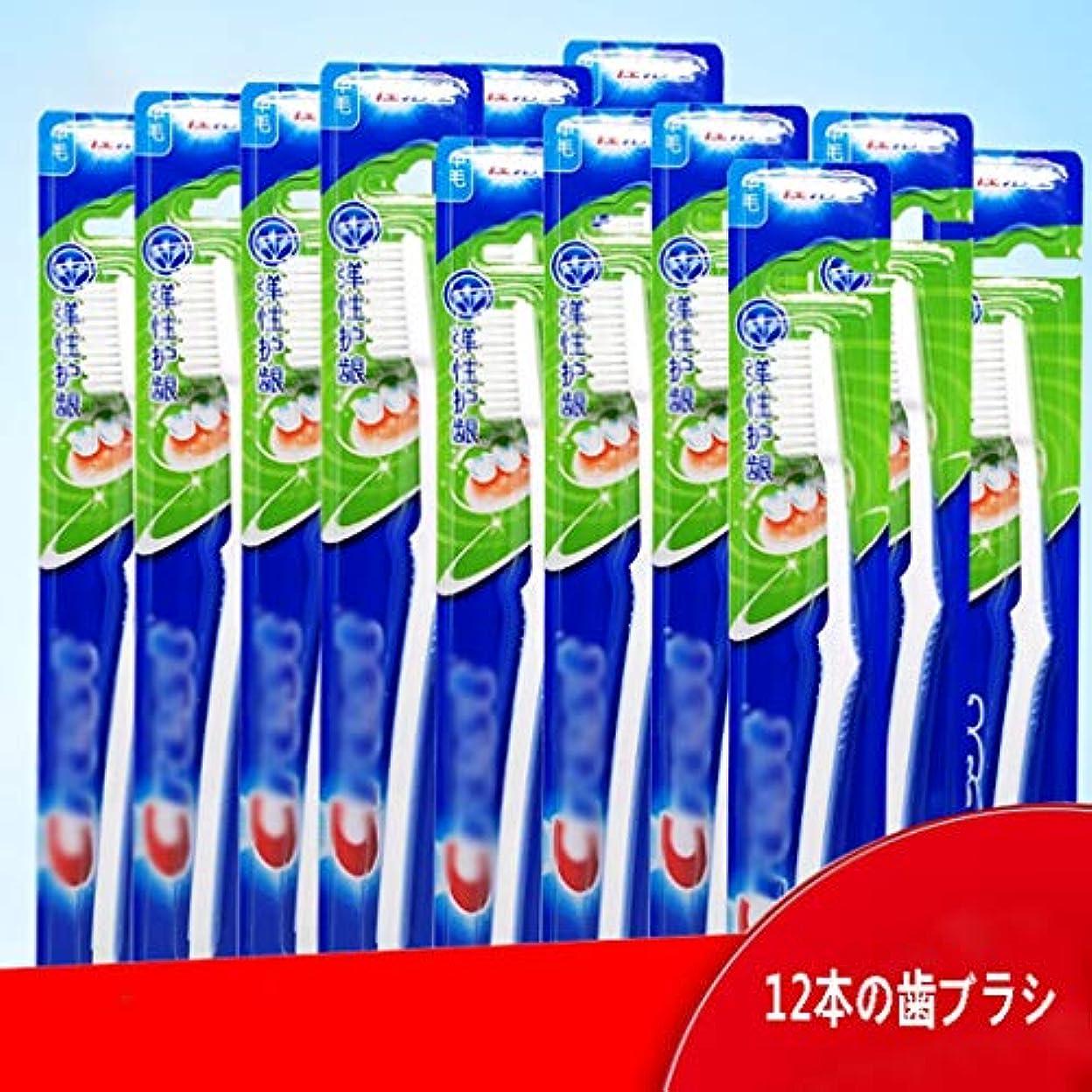 特権クラックポット意気込み大人歯ブラシ、0.19ミリメートルミディアムヘアー12ピース手用歯ブラシ(ランダムカラー)