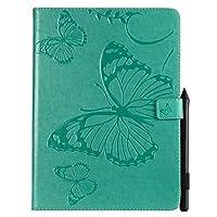 JDDR タブレットケース、 蝶プロの花柄PUレザーウォレットスタンドタブレットケースiPad Pro 11インチ用(2018年リリース) (色 : 緑)