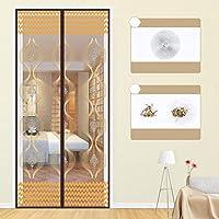 静かな夏 磁気カーテン、フルフレームベルクロ マグネット付き簡単網戸 玄関網戸 自動で閉-85×195センチメートル(33×77インチ)-M