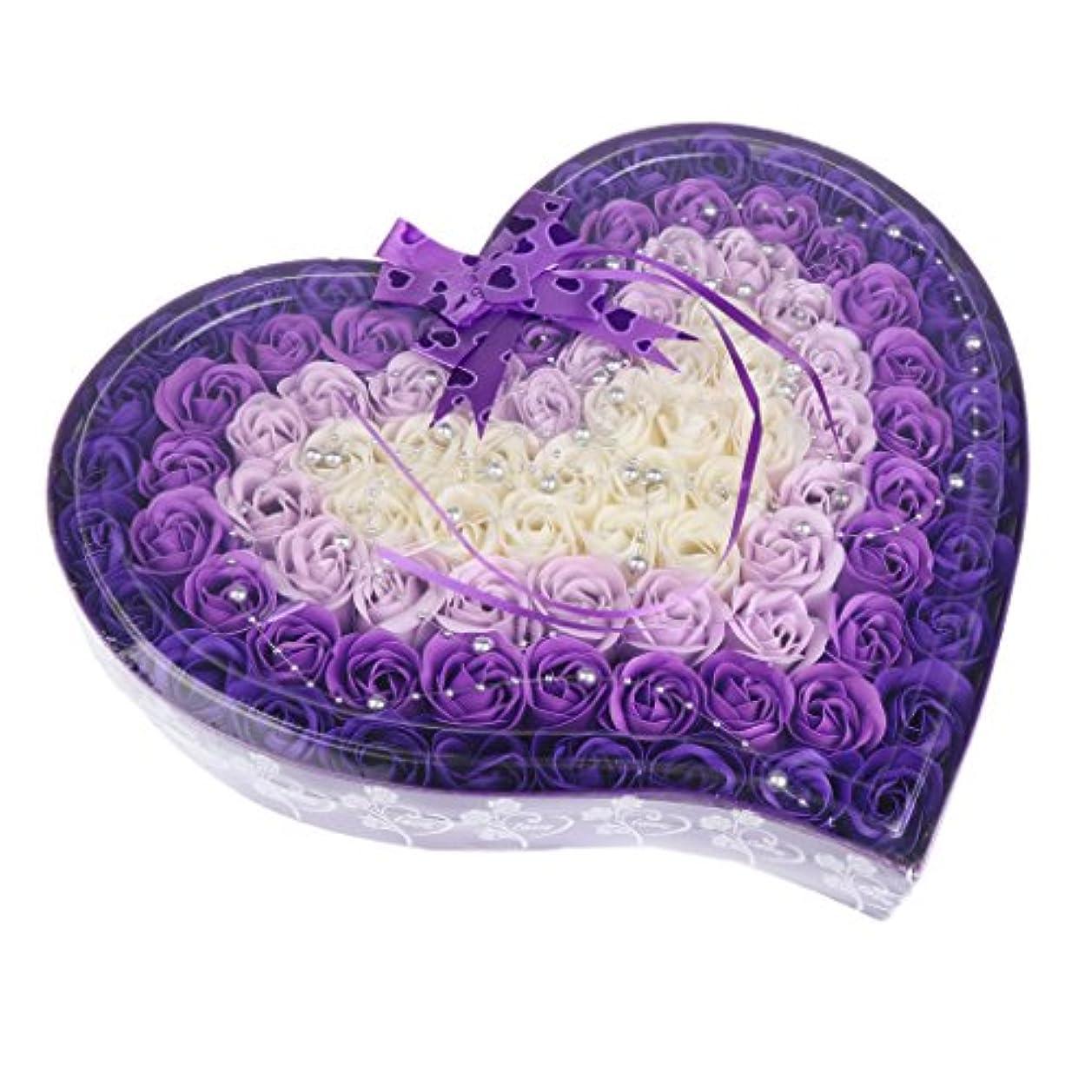 簿記係技術的な対話Fenteer ソープフラワー  約100個 心の形 ギフトボックス 石鹸の花 誕生日  プレゼント 全4色選べる - 紫